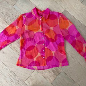 Johnny Was Silk Pink and Orange Blouse